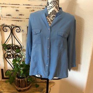 Notations beautiful blue 100% silk blouse
